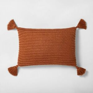 details about 14 x 20 chunky knit throw pillow pumpkin brown hearth hand with magnolia