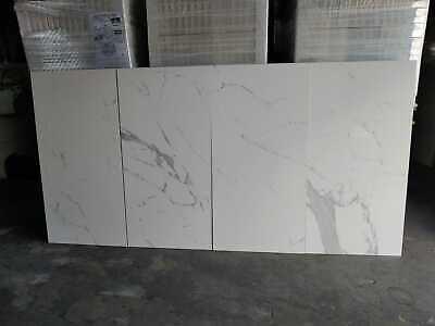 24 x 48 calacatta porcelain rectified white polished tiles ebay