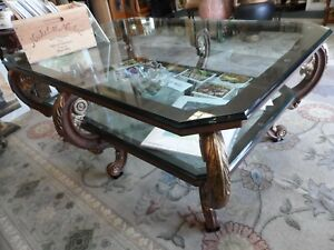 details about beautiful heavy large ornate cast iron eight leg double glass top coffee table