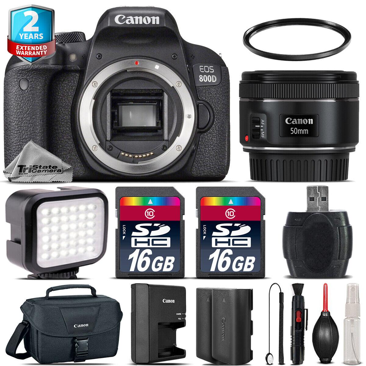 Canon Rebel 800D T7i Camera + 50mm 1.8 STM + Tripod Grip +2yr Warranty -64GB Kit