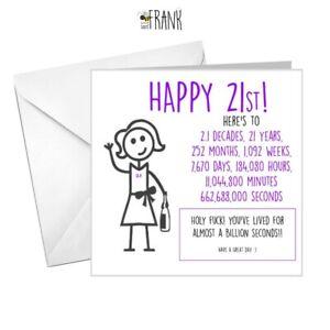 Funny Alternative Sarcastic Birthday Card 21st Birthday Friend Niece Bff Ebay