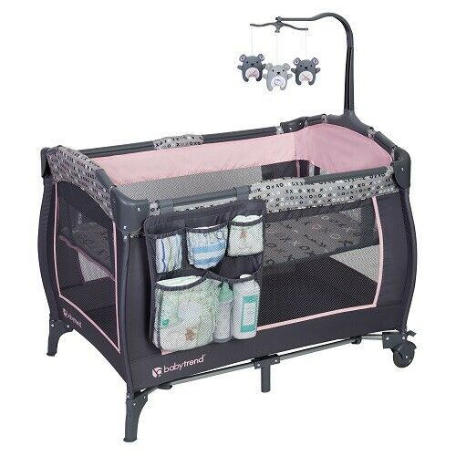baby infant pink playard bassinet portable folding playpen nursery center crib