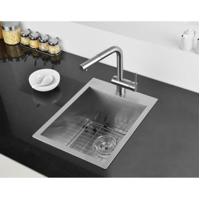 ruvati 15 x 20 inch drop in topmount bar prep sink 16 gauge stainless steel fini
