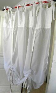 details sur rideau voilage shabby chic vintage fait main blanc dentelle nouettes