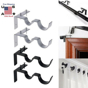 details about kwik hanging double center support curtain rod bracket into window frame right