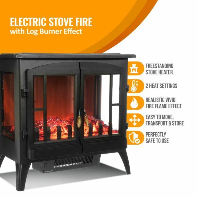 livivo lf1761 2000w electric stove heater fireplace