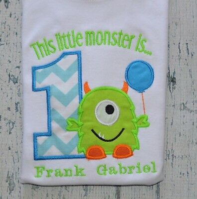 Personalized Monster 1st Birthday Shirt Boys Birthday Tee Monogrammed First Bday Ebay