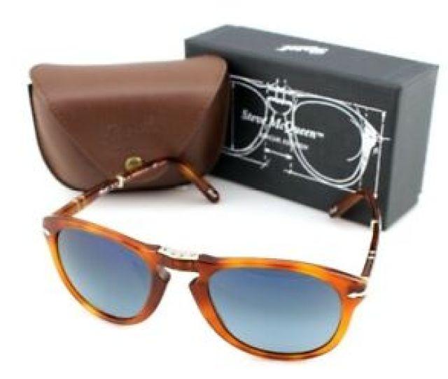 d96219e6dfa3 Image Is Loading Polarized Steve Mcqueen Persol Folding Havana Blue  Sunglasses