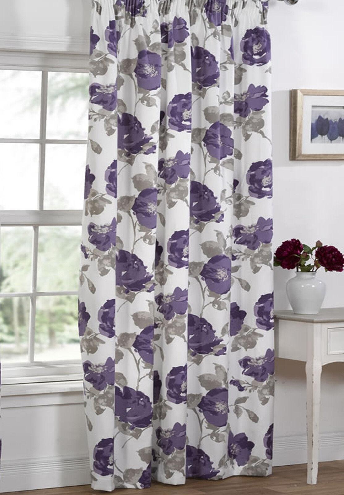 Floral Printed Blackout Window Door Rod Pocket Top Curtains 1 Panel EBay