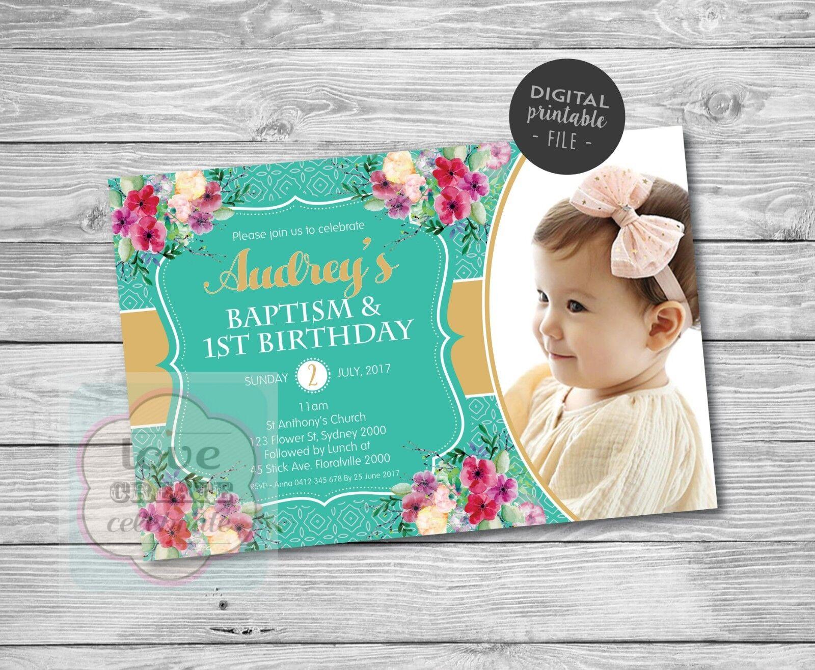 girls birthday baptism christening invitation digital birthday party invite