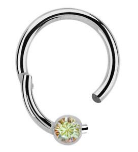 Titan Piercing Schmuck Nasenring BCR Ring 1,2mm mit Clicker Verschluss und Stein