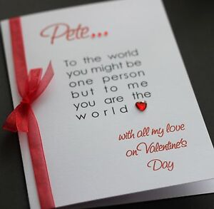 LARGE Handmade Personalised LOVE QUOTE Valentines Card