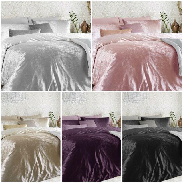 luxurious full crushed velvet duvet cover pillowcase s bed linen bedding set