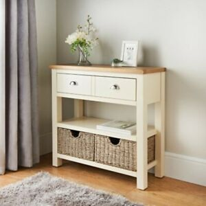 details about sb19 two tone finish newsham oak console table with two seagrass storage baskets