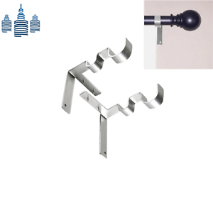 details about 1 set no drill double curtain rod brackets holders