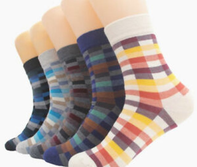 Image Is Loading  Pairs Mens Cotton Socks Colourful Grids Fashion
