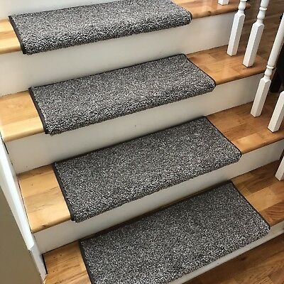 New 27 Wide Driftwood Greys Brown True Bullnose Carpet Stair   Bullnose Carpet Stair Treads   Contemporary   Adhesive Padding 31 Wide Tread Single 10 Deep   Marble Morden Stair   Stairway   Metal Stair