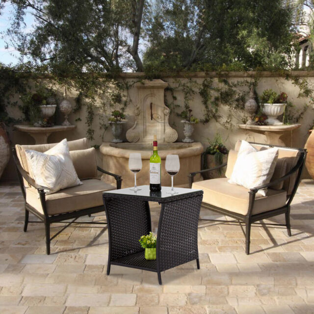 kinbor black outdoor square wicker rattan side tea table w glass top patio with