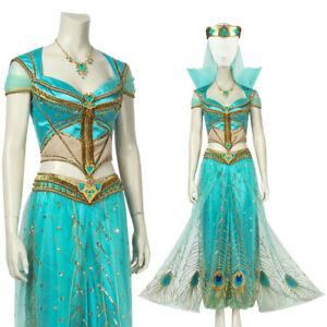 2019 Disfraz De Princesa Jasmine Aladdin Conjunto para Juegos con disfraces mujeres Vestido Elaborado para Halloween