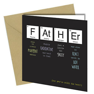 587 Periodic Table Fathers Day Greeting Card Adult Humour Funny Rude Joke 6x6 Ebay