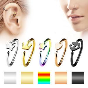 Universal Nasenpiercing Rook Daith Ohr Ring Piercing Ring Motiv Chirurgenstahl