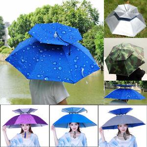 Outdoor Foldable Sun Rain Umbrella Hat Fishing Camping Headwear Cap Head Hats Us Ebay