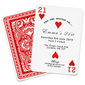 Image Is Loading Personalised Playing Card Invitations Birthday Party Las