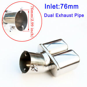 details about chrome 3 inch 76mm inlet dual exhaust pipe auto tailpipe rear muffler tip cover