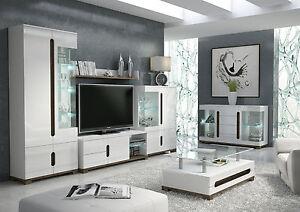 Lorenz High Gloss White Sideboard Tv Unit Tall Display Cabinet Lounge Furniture Ebay