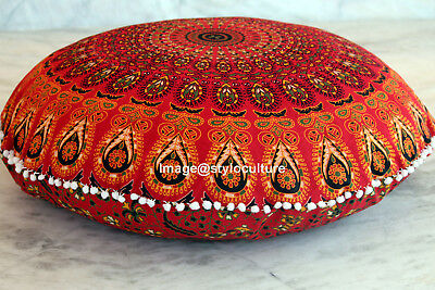 1 pc red mandala round tapestry indian