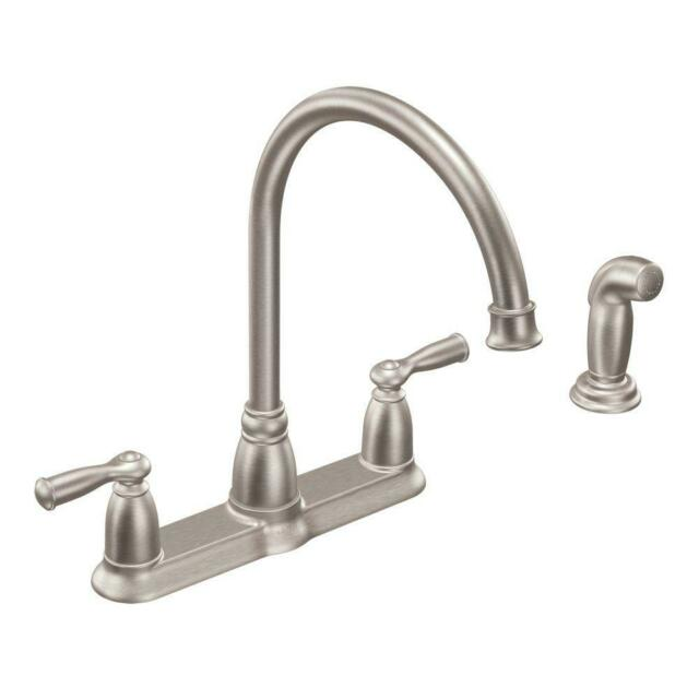 moen banbury 2 handle kitchen faucet with side sprayer new spot resist stainless