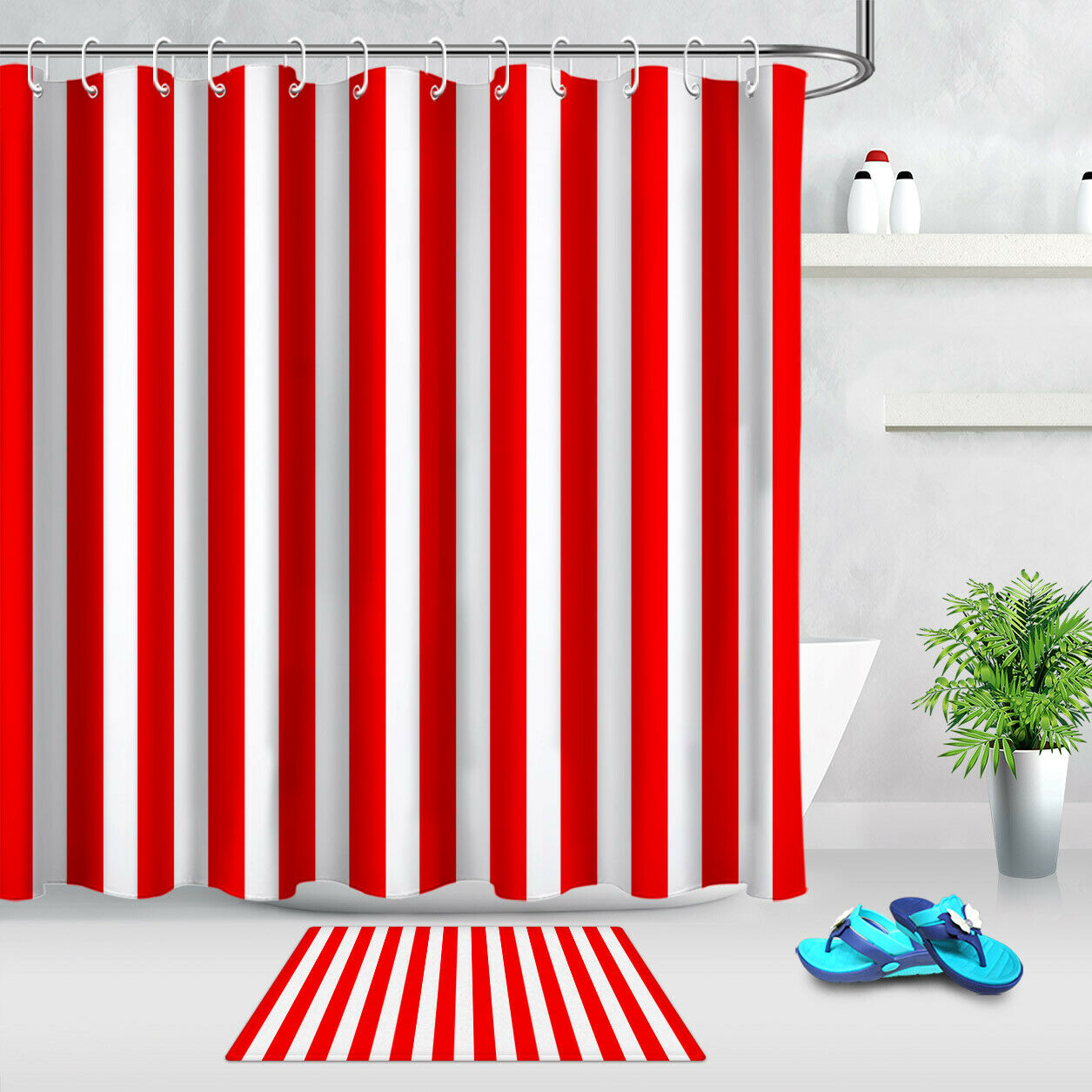 Red And White Stripes Beautiful Colors Fabric Shower Curtain