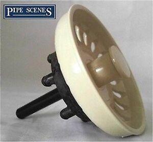 details about kitchen sink basket strainer waste plug coloured ivory cream off white