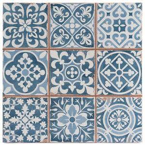 details about victorian tangier blue decor wall floor tile 33x33cm