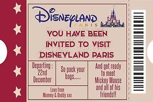 details about personalised disney ticket style disneyland paris invites inc envelopes a5