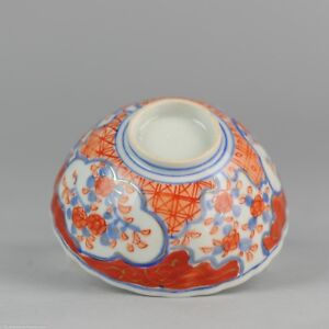 19C Japanese Porcelain Bowl Lobbed Flowers Imari Antique