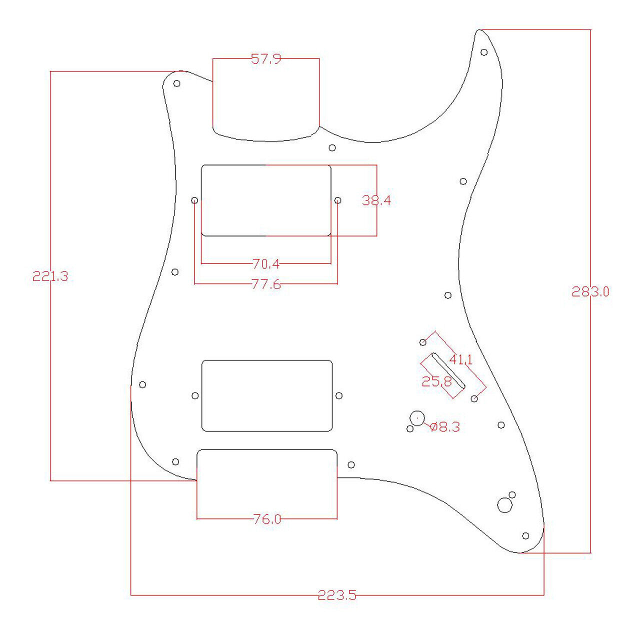 Guitar Prewired Loaded Pickguard For Stratocaster Strat Hh