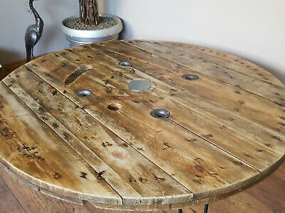 xxl large industrial wooden cable reel drum round coffee table ebay