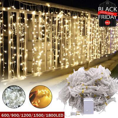 1800 led curtain light string fairy wedding lights indoor outdoor christmas ebay