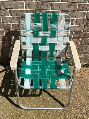 vintage folding yard lawn outdoor chair nylon webbing aluminum 70 s beach patio ebay