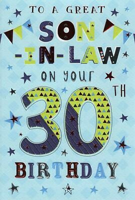 To A Great Son In Law 30th 30 Word Bunting Design Happy Birthday Card Ebay