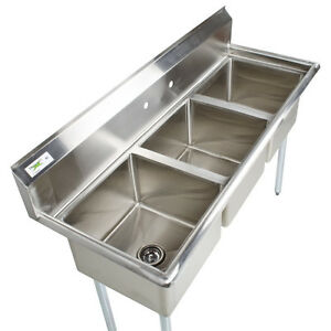 details about 60 stainless steel 3 compartment commercial sink restaurant three no drainboard