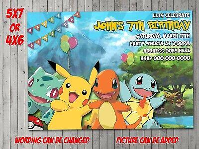 pokemon digital invitation party birthday invite evite pikachu ebay