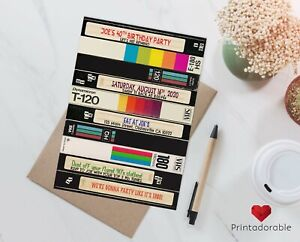 details about original vhs pile invitation for an 80s or 90s birthday party