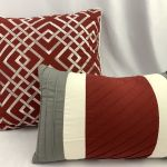 Deep Red Throw Pillows Pillow Lot Embroidered White Gray Accent Cushion Set Ebay