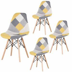 details sur lot de 4 chaises style scandinaves pieds en bois de hetre patchwork jaune