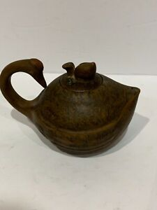"Antique Chinese pottery Yixing swan form teapot peach finial seal mark 6"" wide"