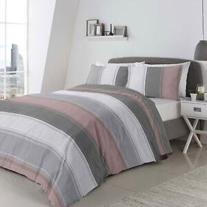 Duvet Set Betley Blush Pink Grey White Stripe Single Double Or King Size Ebay