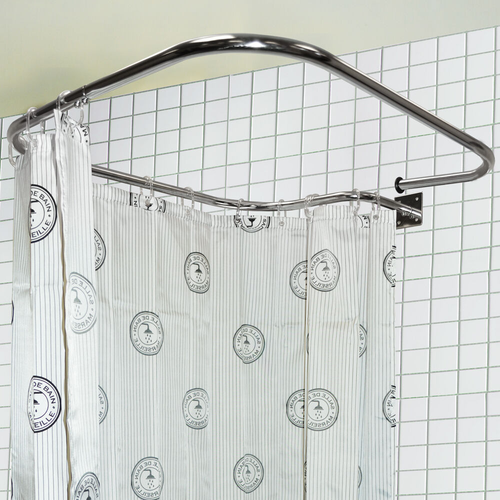 stainless steel rectangular square shower rail and curtain rings ba4025