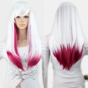 new white rose red ita ombre wig lady long straight weave hair cosplay party